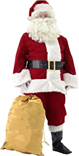 Svansea Men`s Deluxe Santa Suit 11pc. Christmas Ultra Velvet Adult Santa Claus Costume