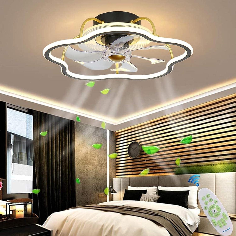 SpiceRack Lámpara de Mesa para Dormitorio, Ventilador de Techo LED Moderno con luz, Ventilador de Techo silencioso Invisible, luz de Techo Regulable con Control Remoto, lámpara de Ventilador