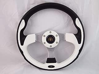 Fits YAMAHA GOLF CART & POLARIS RHINO white steering wheel W/ Chrome Adapter 3 spoke