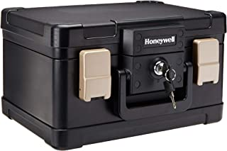 Honeywell Safes & Door Locks- 30 Minute Fire Safe Waterproof Safe Box Chest with Carry Handle, Small, 1102, Black, 4.3 litre