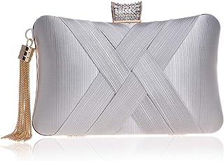 Clutch Handbag Woman Banquet Crossbody Bag Dress Shoulder Bags Evening Dress Wallet Gold Tassel Wedding Diamond Cosmetic Bag Pocket (20×6×12cm)