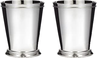 Klikel Mint Julep Cup Classic Beaded Trim Border Moscow Mule Kentucky Derby Julep Set of 2 – Stainless Steel 12oz