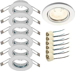 Trango Lot de 6 Spot encastré rond blanc TG6729-066 Bad I toilettes luminaires encastrés, projecteurs de plafond, projecte...