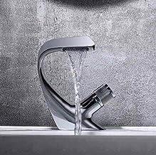 Zwarte kraan, wastafelkraan in de badkamer, kraan voor warm en koud, badkraan met één gat geïnstalleerd op het dek, Whole_...