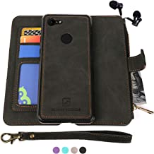 MODOS LOGICOS Google Pixel 3 XL Case, [Detachable Wallet Folio][2 in 1][Zipper Cash Storage][Up to 14 Card Slots 1 Photo Window] PU Leather Purse with Removable Inner Magnetic TPU Case - Black