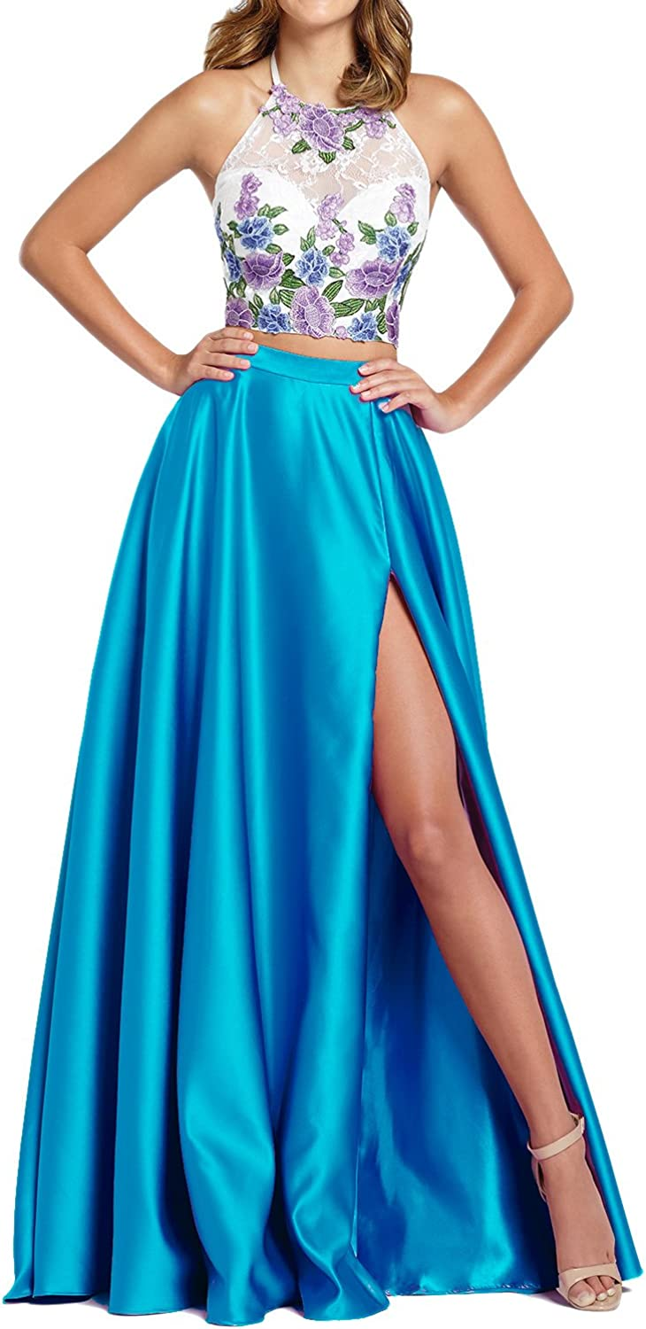 GMAR Women's A Line Evening Dresses Two Pieces Halter Embroidery Party Dress