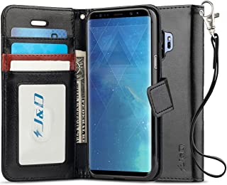 J&D Case Compatible for Galaxy S9 Case, [RFID Blocking Wallet] [Slim Fit] Heavy Duty Shock Resistant Flip Cover Wallet Case for Samsung Galaxy S9 Wallet Case - [Not for Galaxy S9 Plus] - Black