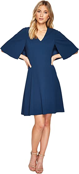 Jessica Howard Short Sleeve Pintuck Bodice Fit Flare Dress