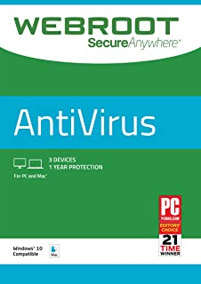Webroot Internet Security with Antivirus Protection – 2019 Software | 3 Device | 1 Year Subscription | PC/Mac CD with Keycard