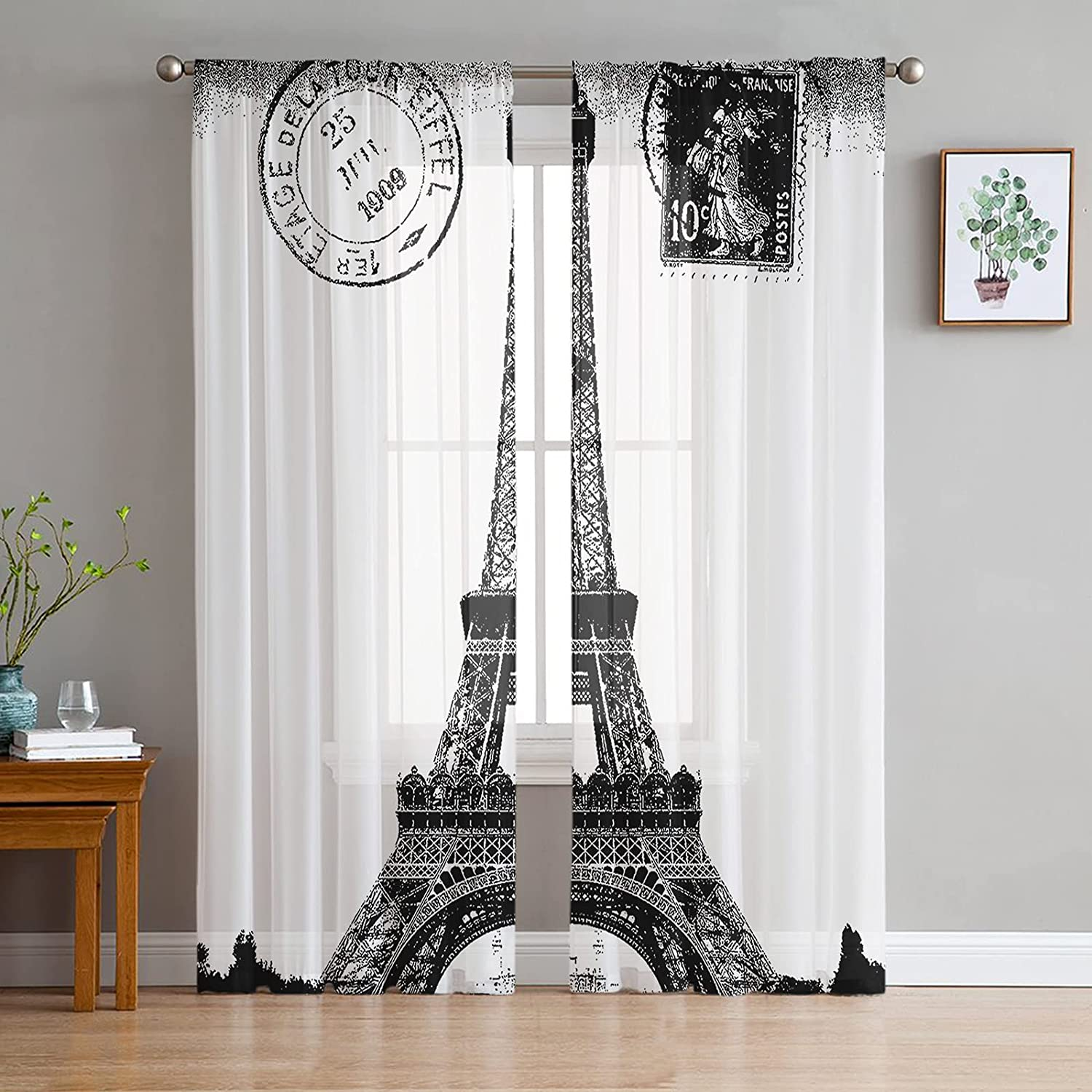 2 Panels Sheer Curtains Light Drapes Tower Eiffel Save money Filtering Vint Chicago Mall