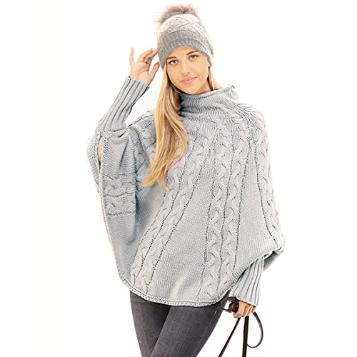 32b4707942f6 Preppy Doll Women s Casual Cape Style Knit Pullover Sweater Asymmetrical  Batwing Poncho Top