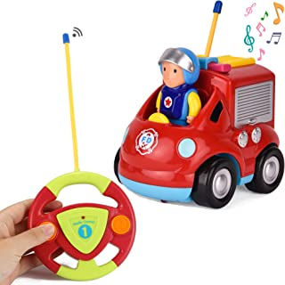 Liberty Imports My First RC Cartoon Car Vehicle 2-Channel Remote Control Toy - Music, Lights and Sound for Baby, Toddlers, Kids (Fire Truck)