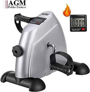 AGM Mini Bicicleta Estáticas, Pedales Estaticos, Máquinas de Brazos y Piernas con LCD Pantalla, Pedaleador Ajustable para Hacer Ejercicio en Casa para Mujer y Anciano