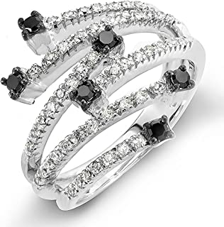 Dazzlingrock Collection 0.48 Carat (ctw) 14k Round Black & White Diamond Ladies Cocktail Right Hand Ring 1/2 CT, White Gold