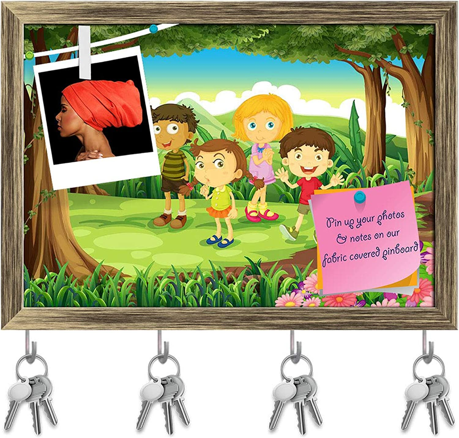 Artzfolio Kids at The Forest Key Holder Hooks   Notice Pin Board   Antique golden Frame 14.1 X 10Inch