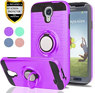 S4 Case,Galaxy S4 Case with HD Phone Screen Protector,Ymhxcy 360 Degree Rotating Ring & Bracket Dual Layer Resistant Back Cover for Samsung Galaxy S4-ZH Purple