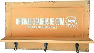 quantio Armoire à clés rétro en Bois - Armoire avec 3 Crochets - avec dépôt pour téléphone Portable - Couleur: Orange