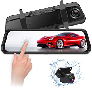 VISKOO, FHD Backup Camera and 1080p Front and Rear Dual Lens Mirror Dash Cam 2 in 1 for car,9.66 inch Full Touch IPS Screen G-Sensor Parking Monitor and Night Vision,