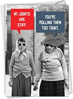 Stiff Joints - Funny Happy Birthday Greeting Card with Envelope (4.63 x 6.75 Inch) - Cool Grandma, Bday Celebration Card for Grandmother, Women - Elderly Old Lady Fun, Appreciation Bday Note C5680BDG