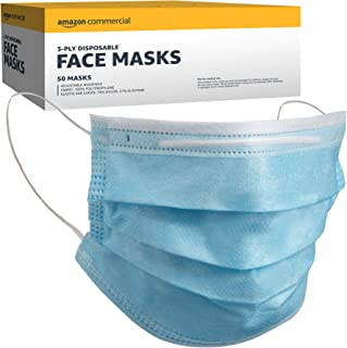 AmazonCommercial 3-ply Disposable Face Masks, 50 per Pack, 1-Pack