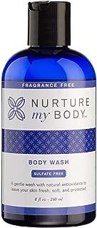 Nurture My Body Fragrance Free Organic Body Wash - SLS Free - For Sensitive Skin - 8 fl oz