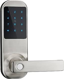 JUNXU Touch Screen Digital Smart Door Lock, Unlock with Code, Card,&Key (Silver)