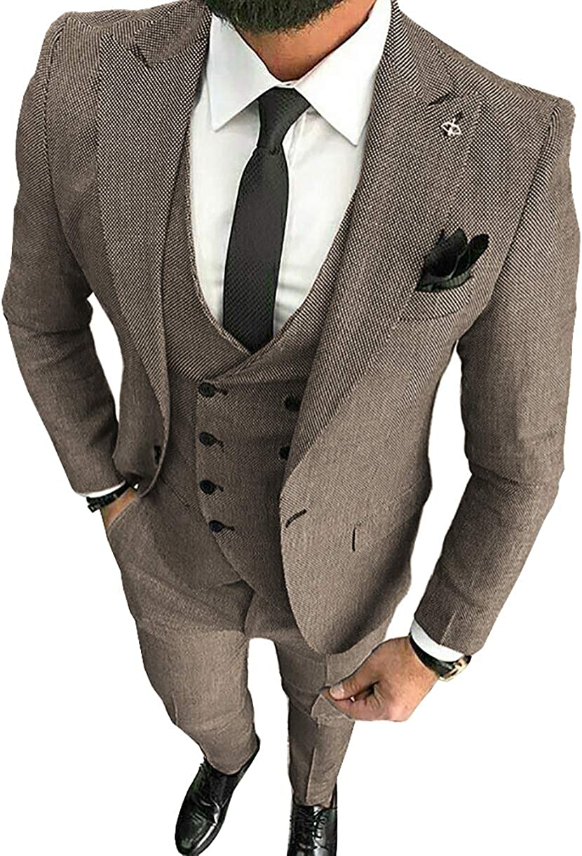 San Antonio Mall MoranX Casual Men's Suits Regular Fit 3 Solid Linen depot Busin Pieces