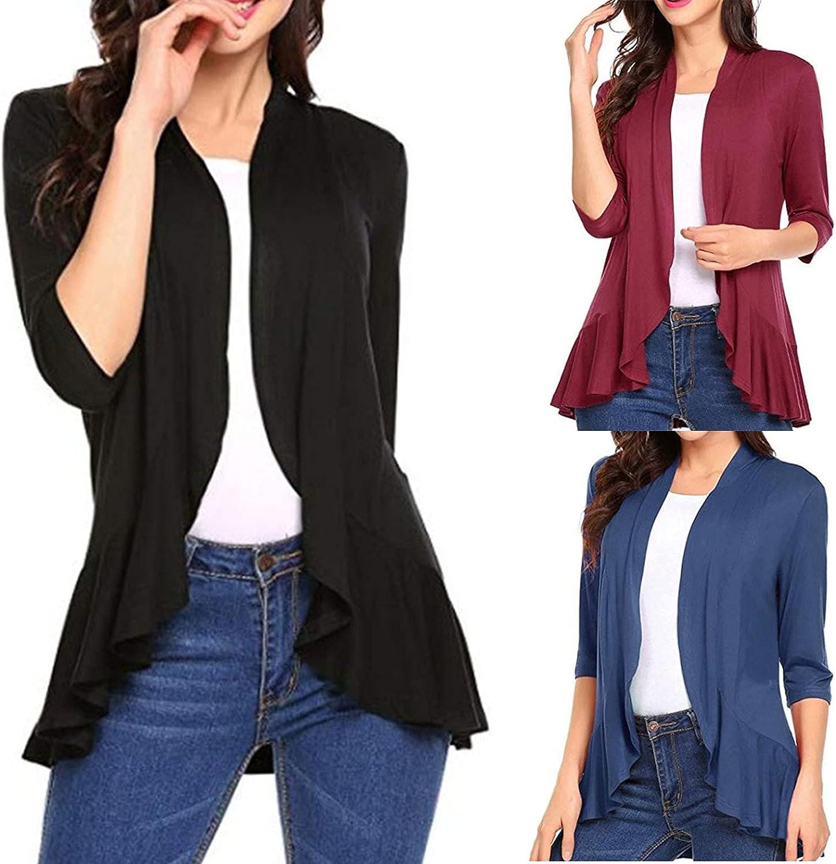 Fankle Women's Open Front Cardigan 3/4 Sleeve Draped Ruffles Soft Knit Sweaters