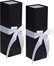 Jillson Roberts 2-Count Wine & Bottle Gift Boxes Available in 3 Colors, Black Matte with White Ribbon