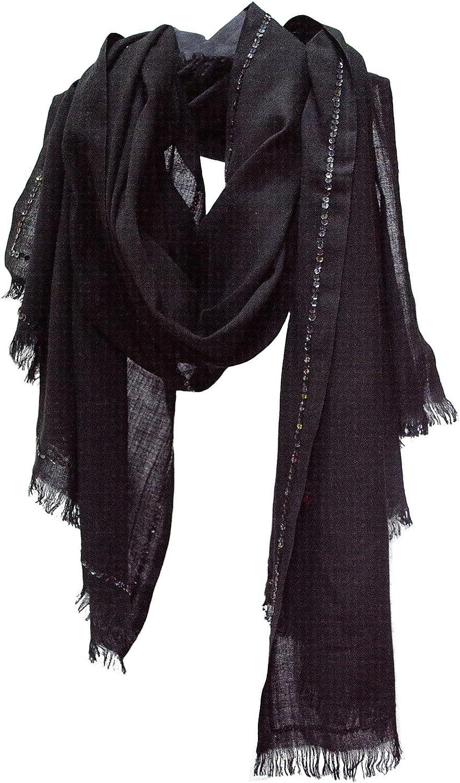 Oversized Sequin Edge Morgan Le Fay Cashmere Shawl Wrap Stole Scarf Black
