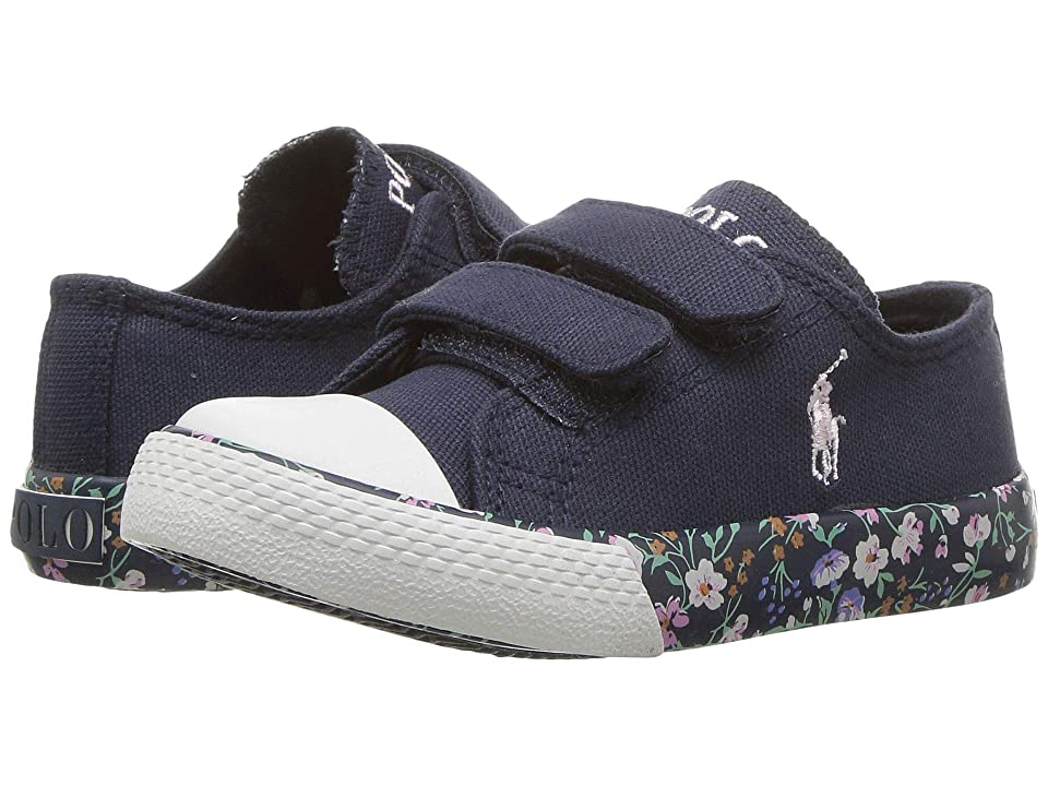 Polo Ralph Lauren Kids Slone EZ (Toddler) (Navy Canvas/Navy/Multi Floral/Light Pink Pony) Girl