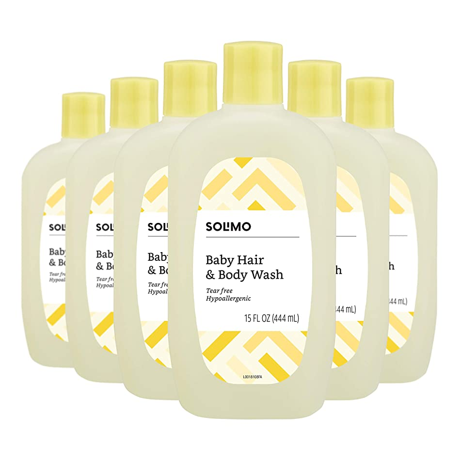 Amazon Brand - Solimo Tear-Free Baby Hair and Body Wash, 15 Fluid Ounce (Pack of 6)