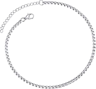 Barefoot Jewelry Box Chain Anklet for Women Stainless Steel 3mm