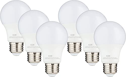 (6 PACK) KOR 9W LED A19 Light Bulb (60W Equivalent), UL Listed, 5000K (Bright White Daylight), 800 Lumens, Non-Dimmab...