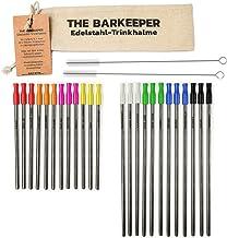 THE BARKEEPER – Set profesional de 24 pajitas para beber (12 largas y 12 cortas) reusables de acero inoxidable grabadas con nombres de varias ciudades.