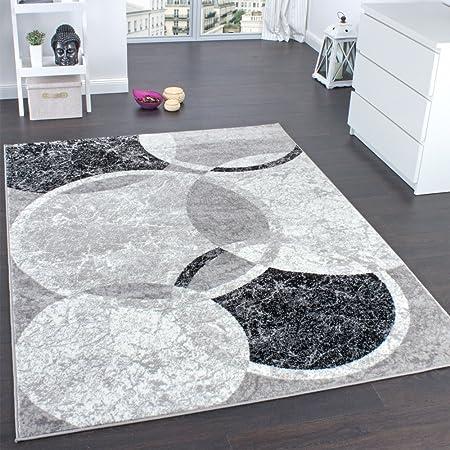Paco Home Tapis De Créateur Contemporain avec Cercles Marbré en Gris Noir Crème, Dimension:160x220 cm