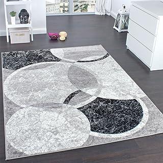 Paco Home - Alfombra con grabados de circulos, gris con crema,  160 x 220 cm