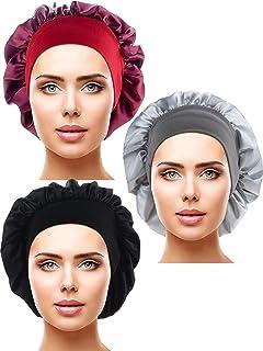 Blulu 3 Pieces Satin Sleep Cap Elastic Wide Band Hat Night Sleeping Head Cover for Sleeping Supplies