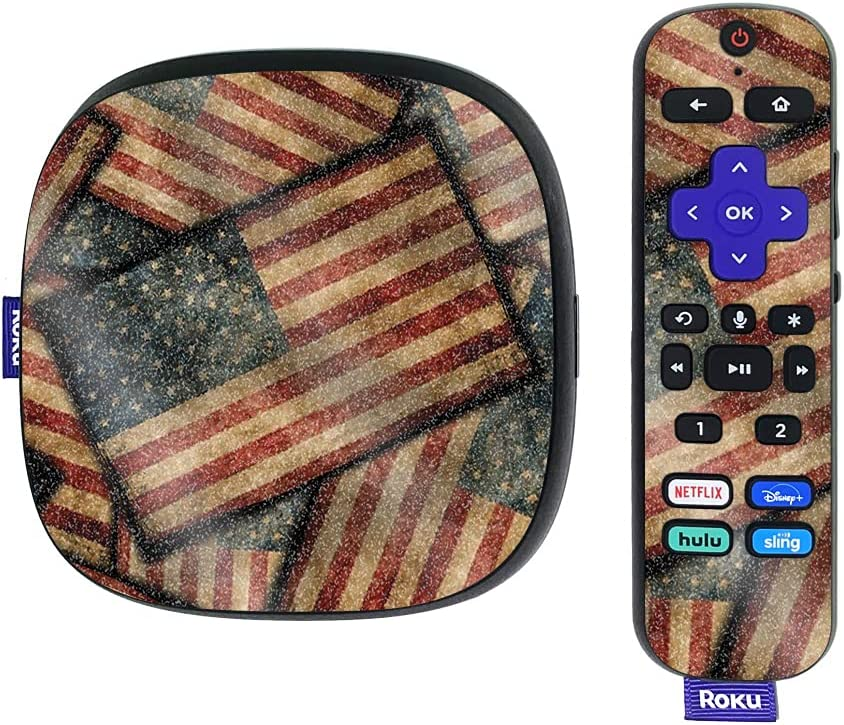 MightySkins Glossy Glitter Skin Compatible with Roku Ultra HDR 4K Streaming Media Player (2020) - Vintage American   Protective, Durable High-Gloss Glitter Finish   Easy to Apply   Made in The USA