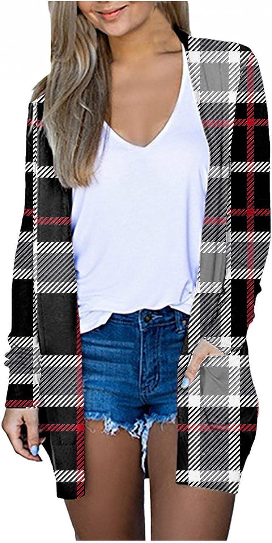 Long Cardigans for Women Lightweight, Women's Open Front Cardigan Sweaters Casual Long Sleeve Side Split Knit Kimono Sweater Outwear with Pockets