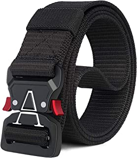 Tactical Belt,1.5 Inch Web Belt, No Holes Quick Release Heavy Duty Web Belt for Men,Tactical Belt for Men