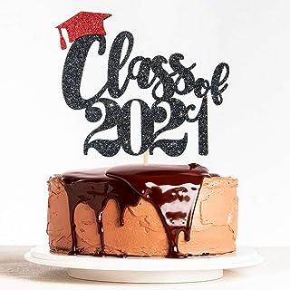 WeBenison Black Glitter Class of 2021 Cake Topper Congrats Grad 2021, Graduation Party Decorations Supplies Double Color