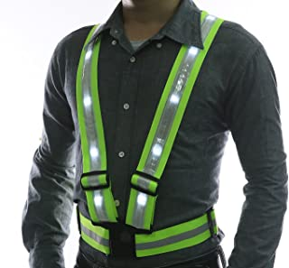 Glowseen LED Reflective Safety Vest-USB Rechargeable-High Visibility with Reflective Stripes for Outdoor Activities Vest-White