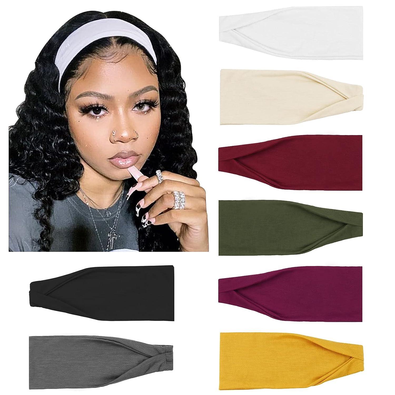 DRESHOW 8 Pack Yoga Sports Headbands for Women Elastic Non-Slip Headbands Running Workout Hair Bands