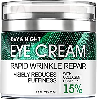 Eye Cream for Dark Circles Wrinkles Puffiness and Bags Under Eyes – Anti-Aging Collagen Eye Cream – Day and Night Formula ...