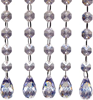 Waterdrop Crystals Bead Strands, Acrylic Hanging Beads Chandelier Lamp Prisms Pendants Parts Clear Bead Chains Garlands for Manzanita Trees Wedding Vases Curtain Decoration(Lengthened,12pcs)