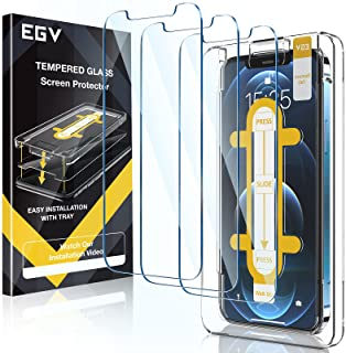 EGV 3 Pack Screen Protector Compatible with iPhone 12 Pro/iPhone 12 5G 6.1-inch, 9H HD Clear Tempered Glass, Case Friendl...