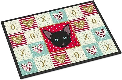 Caroline's Treasures Russian White Black Cat Love Indoor or Outdoor Mat 18x27 doormats, Multicolor