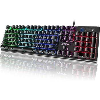 NPET ゲーミングキーボード LED バックライト 7色 防水 usb 26キー防衝突 キーボード 角度調節可能 2年間無償品質保証 キーキャッププーラー付き K10 更新版 (日本語配列(106キー))