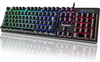 NPET ゲーミングキーボード LED バックライト 7色 防撥水 usb 26キー防衝突 キーボード 角度調節可能 2年間無償品質保証 キーキャッププーラー付き K10 更新版 (日本語配列(106キー))